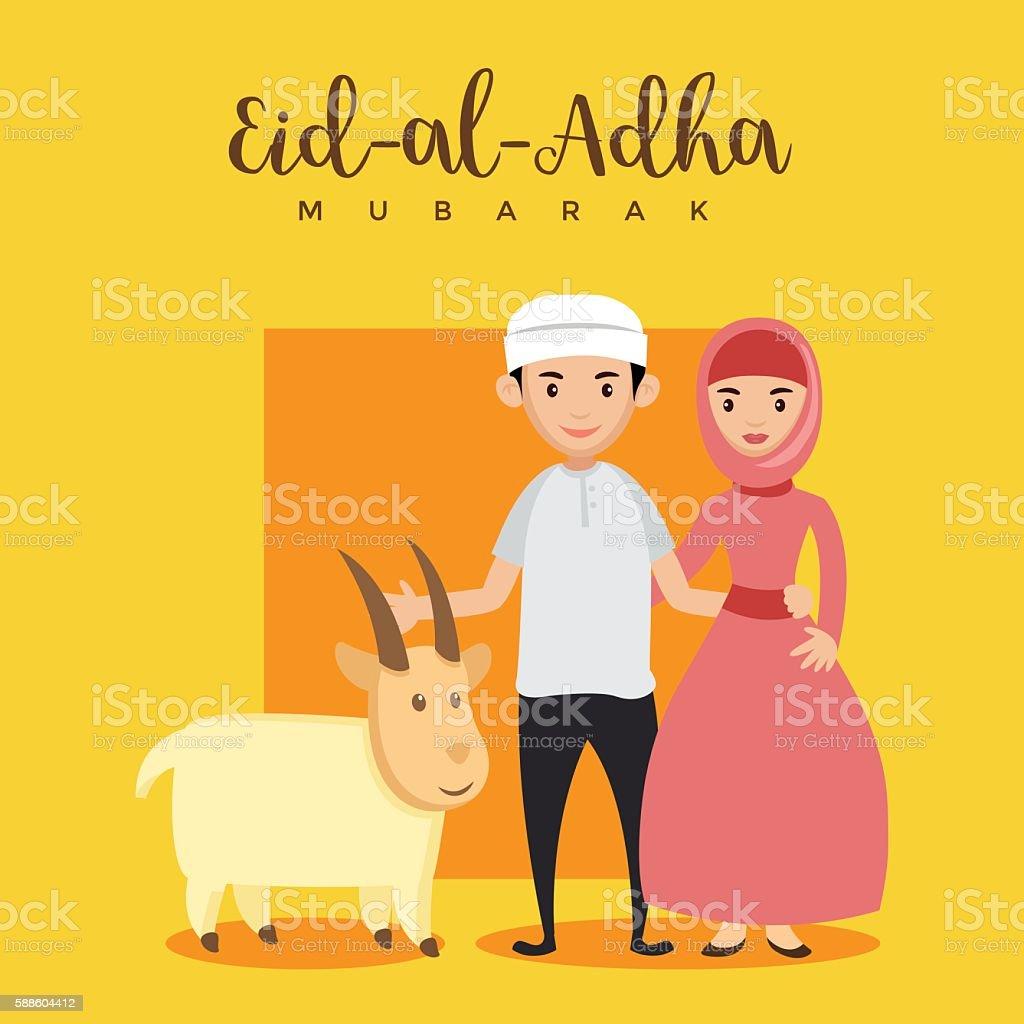 Muslim Couple Eid Al Adha Greeting Card Qurban Lamb Stock Vector Art