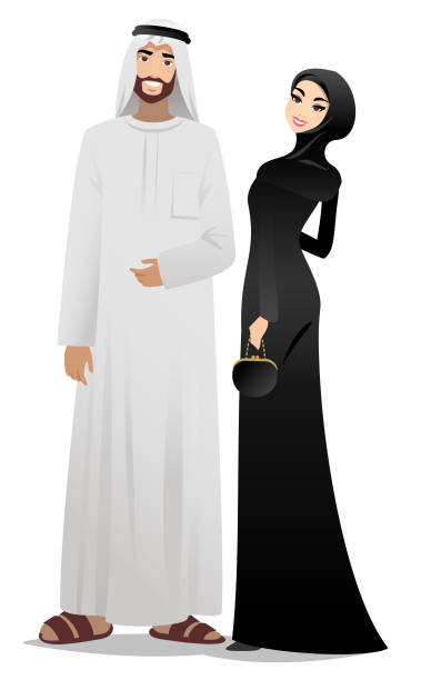 muslim couple - arab stock illustrations