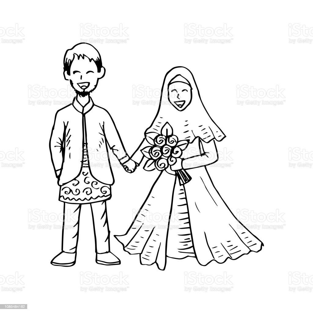 Muslim couple wedding card stock illustration download