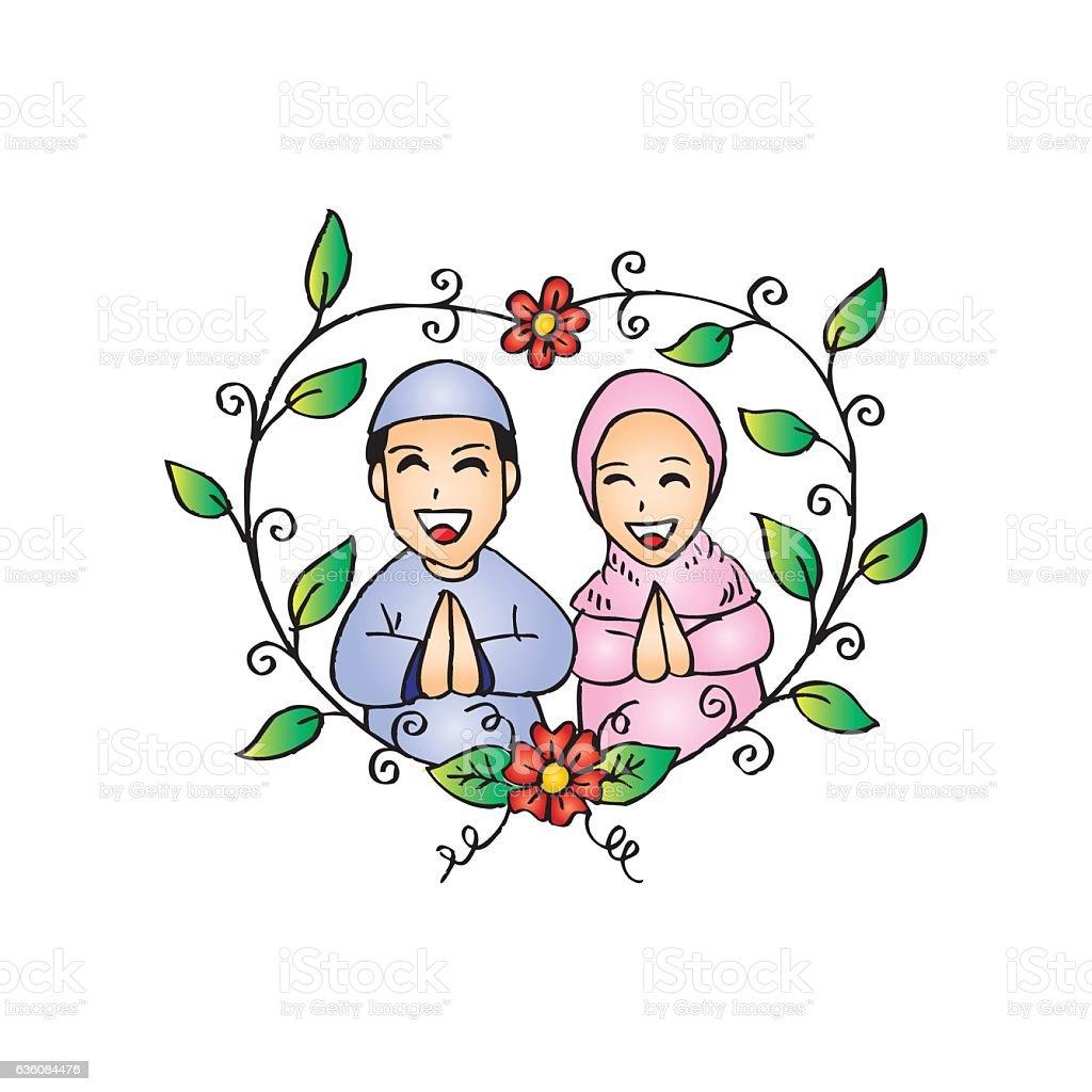 Muslim Couple Wedding Card Stock Illustration Download Image Now Istock