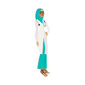 Muslim doctor woman in medical uniform flat cartoon character vector illustration isolated on white background. Element for women diversity and equality concept.