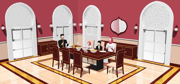 Muslim Family Break Fasting In Dining Room
