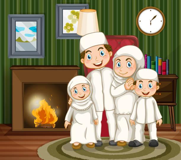 muslimische familie am kamin im wohnzimmer - kaminverkleidungen stock-grafiken, -clipart, -cartoons und -symbole