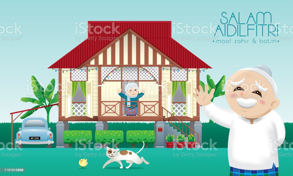 A Muslim family celebrating Raya festival in their traditional Malay style house. vector art illustration