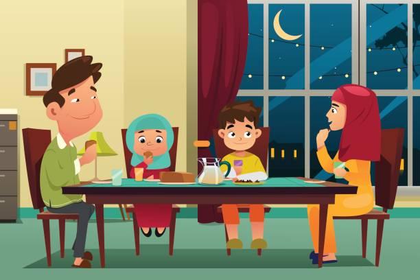 muslim family eating dinner at home - family dinner stock illustrations