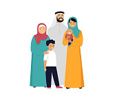 Muslim family in traditional wear, vector illustration. Vector illustration