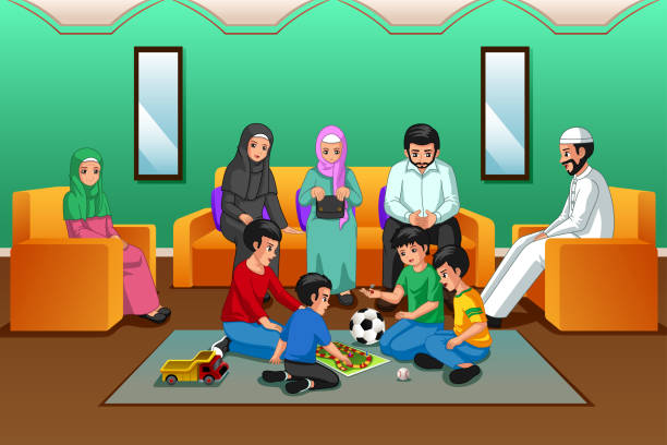 Muslim Family Playing in the Living Room vector art illustration