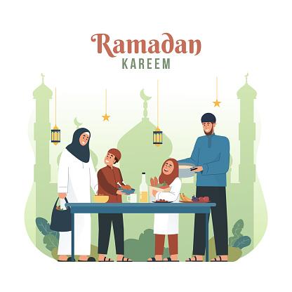 Muslim family preparing iftar meal