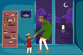 Muslim family watching moon of Eid