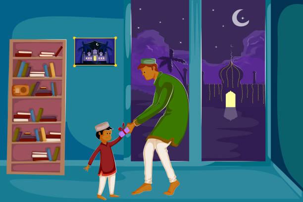 muslimische familie watching moon of eid - elternhochzeitsgeschenke stock-grafiken, -clipart, -cartoons und -symbole
