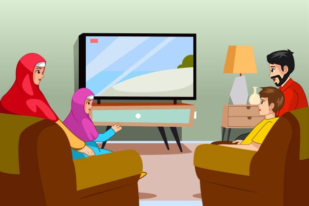 Muslim Family Watching TV at Home Illustration A vector illustration of Muslim Family Watching TV at Home family watching tv stock illustrations