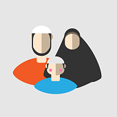 Muslim family with son icon