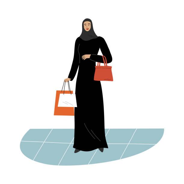 stockillustraties, clipart, cartoons en iconen met moslimmeisje in een traditionele etnische zwarte hijab die zich met het winkelen zakken bevindt. de illustratie van de vector in vlakke beeldverhaalstijl. - oost duitsland