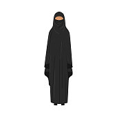 Muslim girl standing in a traditional black niqab. Ethnic clothes concept. Isolated vector icon illustration on white background in cartoon style.