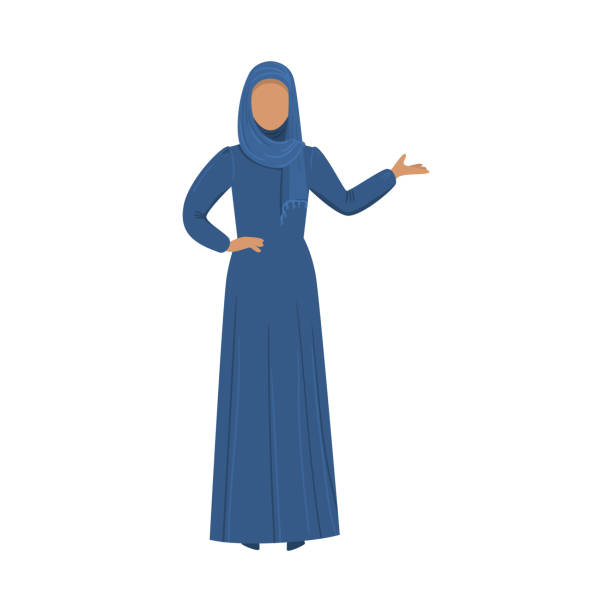 Muslim girl in a traditional ethnic blue hijab. Vector illustration in flat cartoon style. Muslim girl standing in a traditional blue hijab. Ethnic clothes concept. Isolated vector icon illustration on white background in cartoon style. religious veil stock illustrations