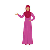 Muslim girl standing in a traditional red hijab. Ethnic clothes concept. Isolated vector icon illustration on white background in cartoon style.