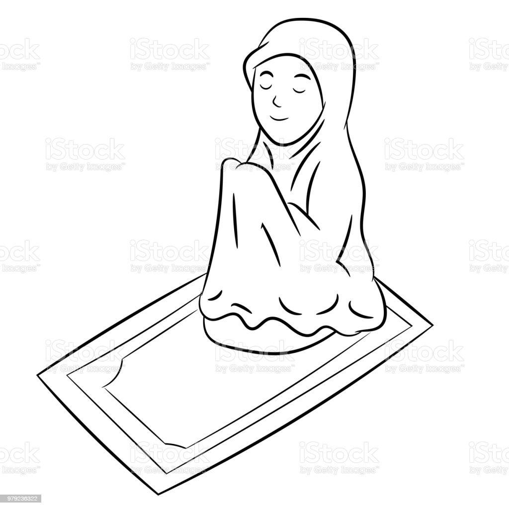 Muslim girl prayinghand drawn vector illustration stock
