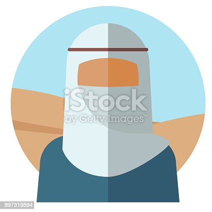 Image of a faceless Muslim girl, with a white cloak on her head that covers her face. Vector illustration.