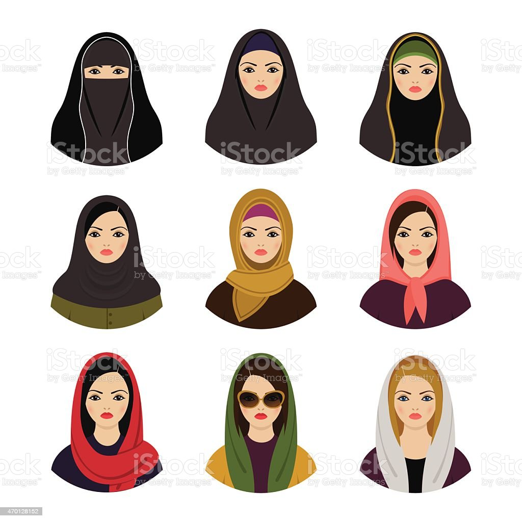 Muslim girls avatars set. Asian muslim traditional hijab collection vector art illustration