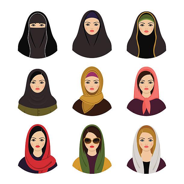 Muslim girls avatars set. Asian muslim traditional hijab collection Muslim girls avatars set. Asian muslim traditional hijab collection headscarf stock illustrations