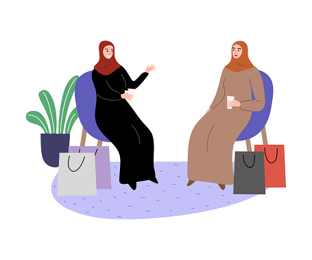 Muslim girls in a traditional ethnic hijab sitting on chairs with shopping bags. Vector illustration in flat cartoon style.