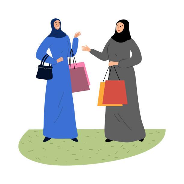 stockillustraties, clipart, cartoons en iconen met moslimmeisjes in een traditionele etnische hijab die zich met het winkelen zakken bevindt. de illustratie van de vector in vlakke beeldverhaalstijl. - oost duitsland