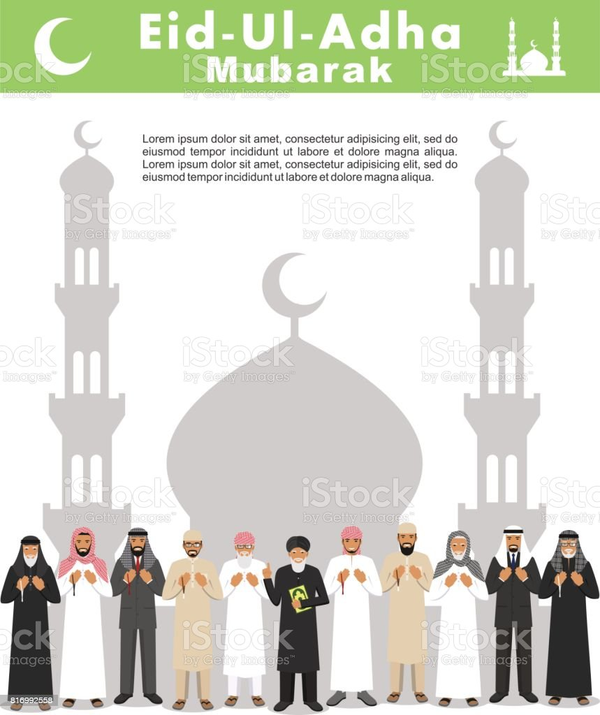 Muslim holiday Eid al-Adha. Feast of the Sacrifice. Different standing praying arabic people and mullah in traditional arabian clothes. Mufti with quran. Silhouette of a mosque and minarets vector art illustration