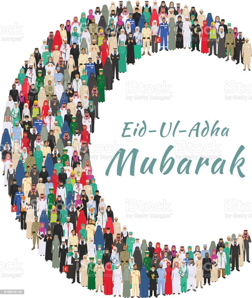 Muslim holiday Eid al-Adha. Feast of the Sacrifice. Large group arabic people professions occupation standing together in the shape of crescent in different suit and traditional clothes in flat style vector art illustration