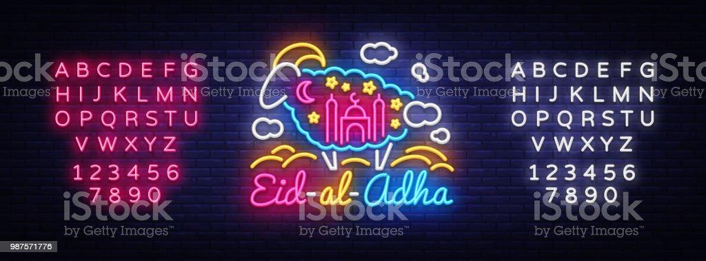 Muslimischen Feiertag Eid al-Adha Urlaub Vektor-Illustration. Eid al-Adha Neon Sign Design-Vorlage, moderne Design, leichte Banner. Entwerfen Sie Kurban Bayram Dekoration. Vektor. Bearbeiten von Text-Leuchtreklame – Vektorgrafik