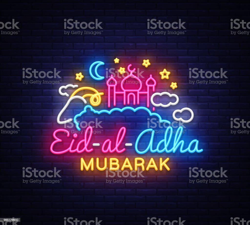 Muslimischen Feiertag Eid al-Adha Urlaub Vektor-Illustration. Eid al-Adha Mubarak Neon Sign Design-Vorlage, moderne Design, leichte Banner. Grafik-Design Dekoration Kurban Bayram. Vektor-Illustration – Vektorgrafik