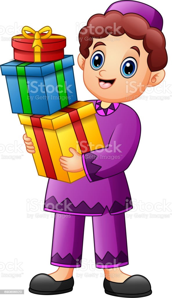 Vector illustration of Muslim kid holding gift box wearing red clothes