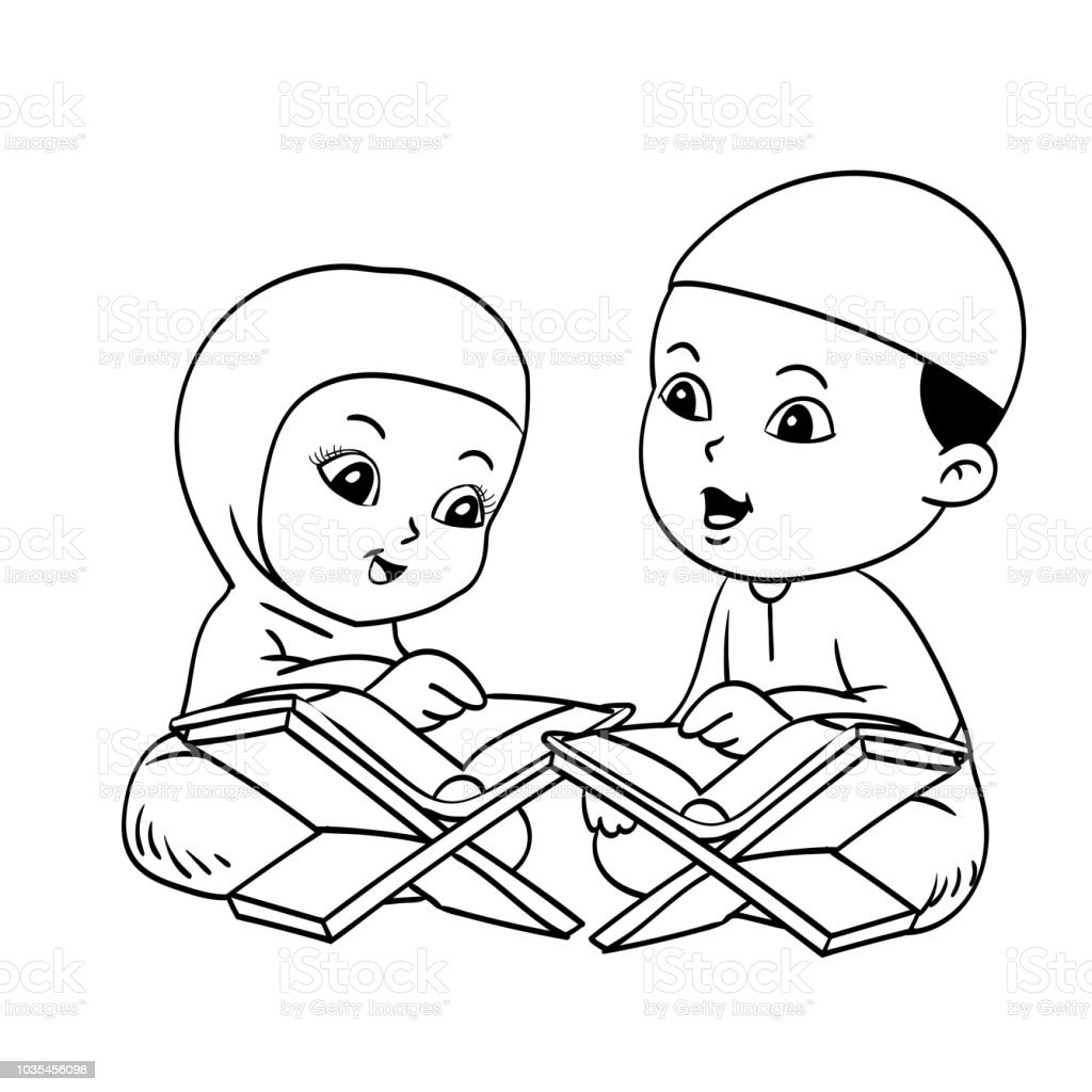 royalty free cartoon of muslim girl reading quran clip art