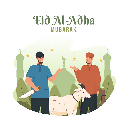 Muslim man celebrating Eid Al Adha mubarak. Animal sacrifice festival