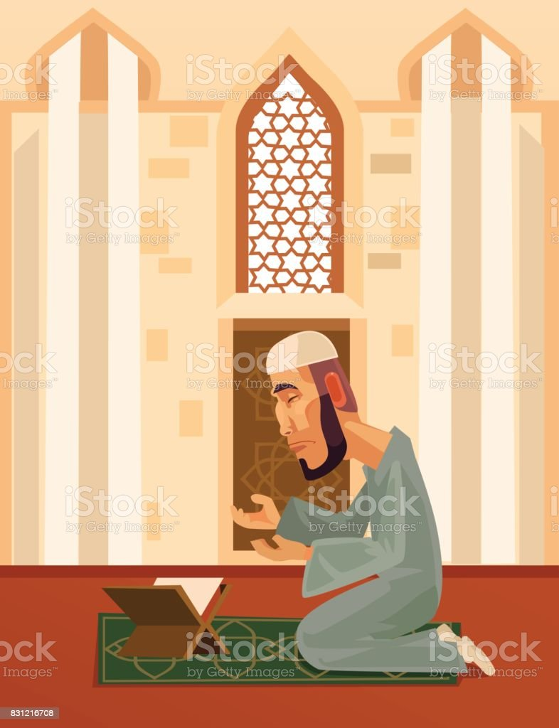 Muslim man character praying in mosque vector art illustration