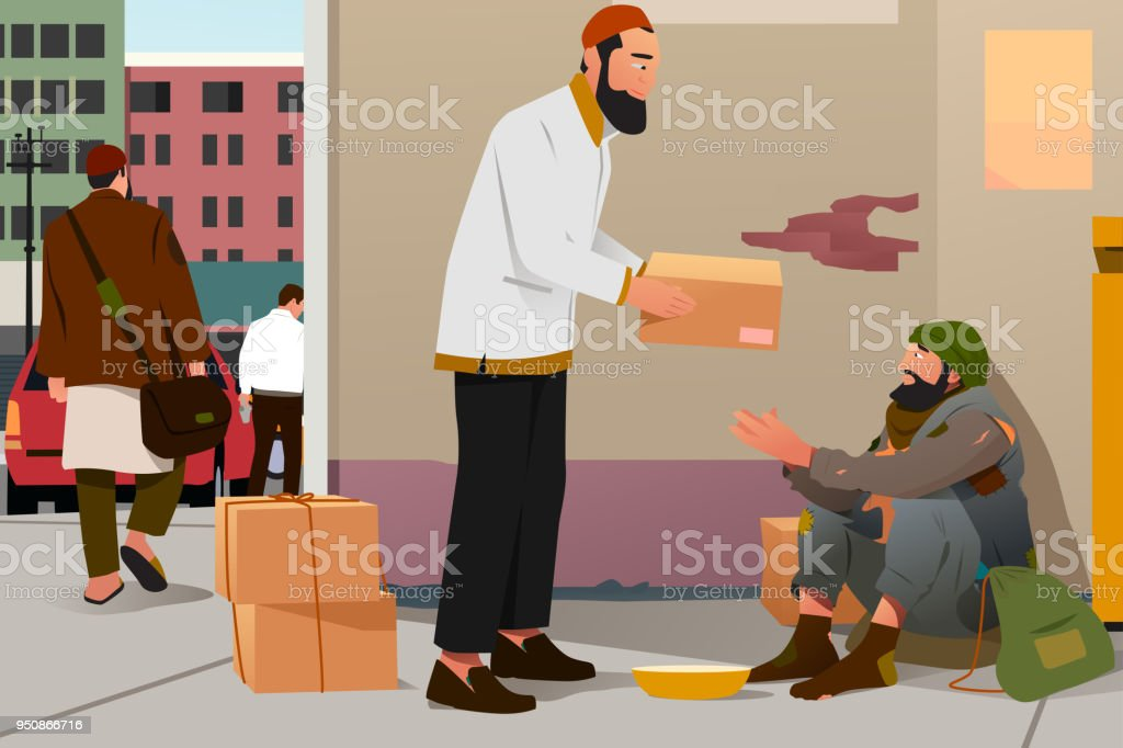 Muslim Man Giving Donation to a Poor Homeless Man vector art illustration
