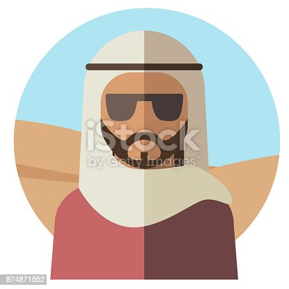 A Muslim man in a white cloak on his head and wearing dark sunglasses, against the background of the desert. The concept of nationality. Vector illustration.