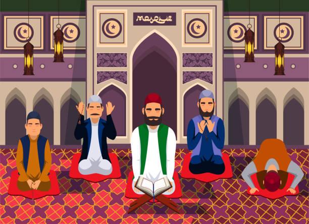 ilustrações de stock, clip art, desenhos animados e ícones de muslim man in mosque flat vector illustration - cora��o