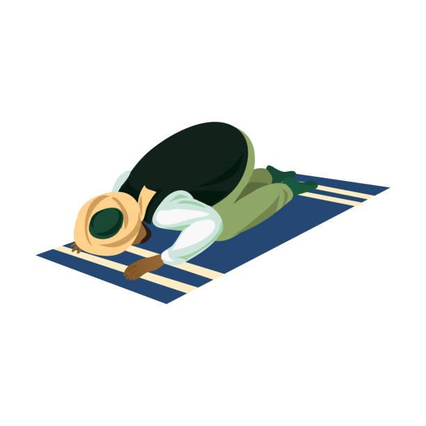 ilustrações de stock, clip art, desenhos animados e ícones de muslim man make namaz prayer on carpet to allah - cora��o