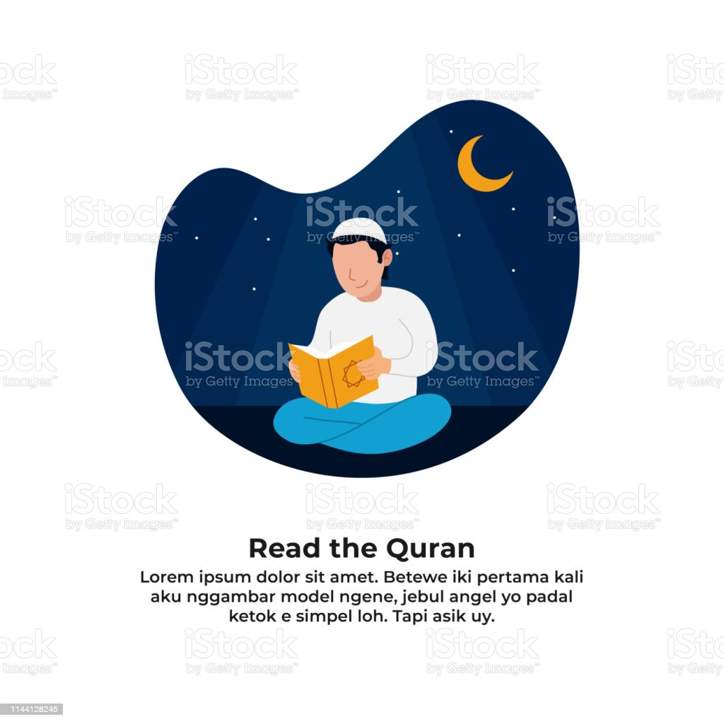 Muslim Man Reading Holy Quran For Ramadan Activity With Night Scene
