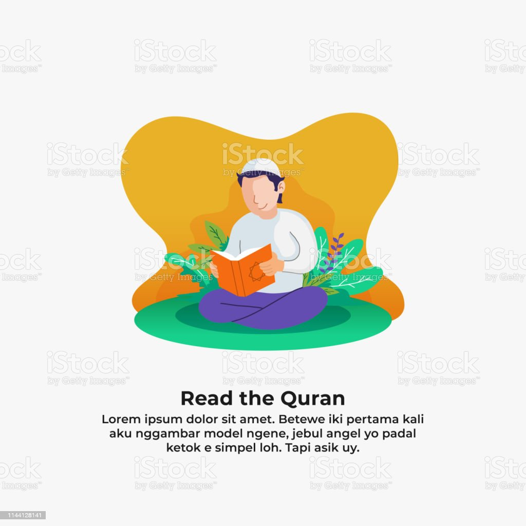 muslim man reading quran the holy book of islam with leaf and flower nature background. ramadan activity vector illustration design.