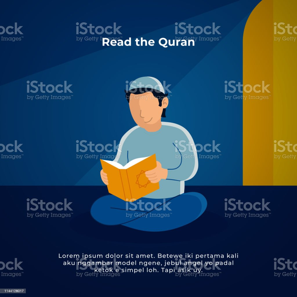 Muslim man reading the holy quran in the mosque. ramadan activity vector illustration design.