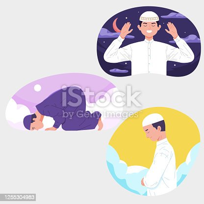 istock muslim men doing prayer shalat with sky background night day during Ramadhan 1255304983