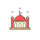Muslim mosque flat icon. Vector illustration