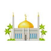 istock Muslim mosque, Islam religion temple building icon 1341579936