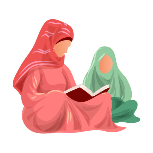 ilustrações de stock, clip art, desenhos animados e ícones de muslim mother in red clothes read koran to her daughter - cora��o