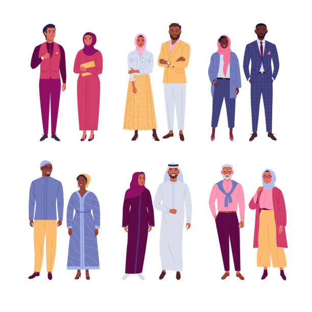 Muslim multinational couples. Vector illustration of diverse cartoon islam people in traditional, trendy and classic outfits. Isolated on white. islam stock illustrations