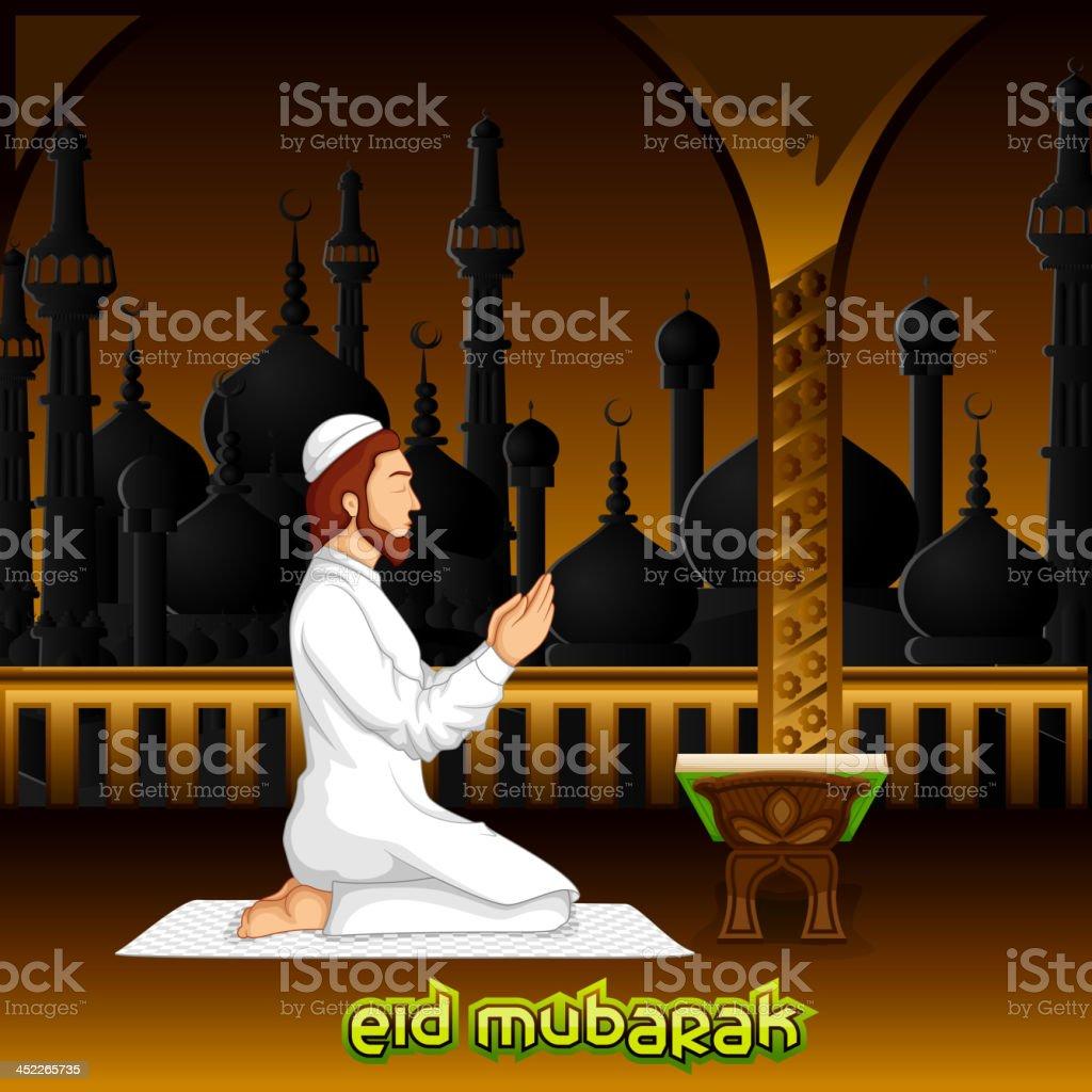 Muslim offering namaaz for Eid royalty-free stock vector art
