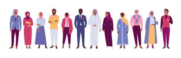 müslüman insanlar koleksiyonu. - arab stock illustrations