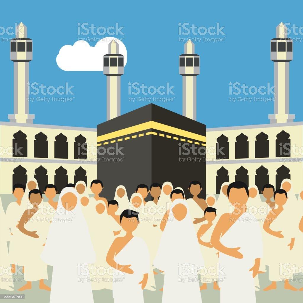 Jamaah Muslim Melaksanakan Ibadah Hajiumrah Karakter Kartun ...