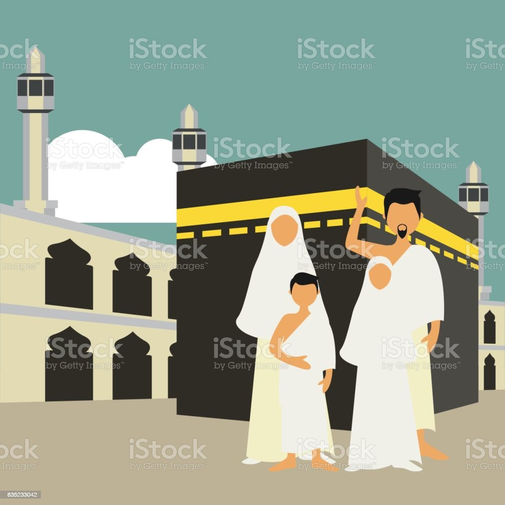 Muslim pilgrims perform Hajj / Umrah (pilgrimage to Mecca) around Kaaba at the Haram Mosque using Ihram (white garment). Cartoon Character. Vector Illustration vector art illustration